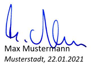 Lebneslauf Unterschrift, Ort & Datum