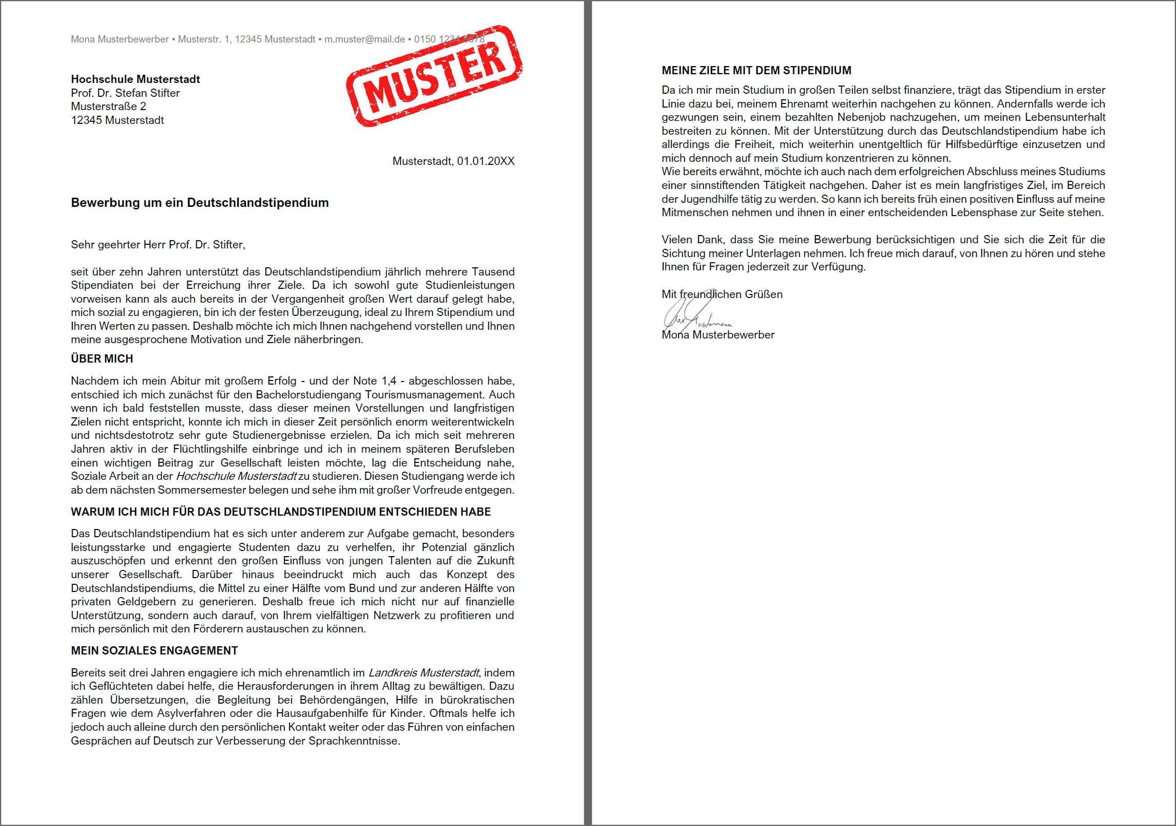 Motivationsschreiben Stipendium Muster - Deutschlandstipendium